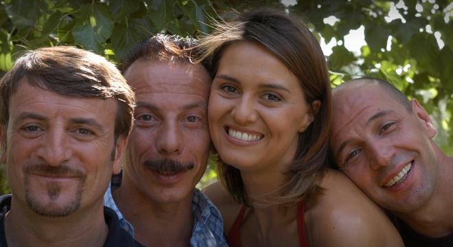 The Cast of Tu La Conosci Claudia, Giacomo Poretti. Giovanni Storti, Claudia Cortellesi and Aldo Baglio