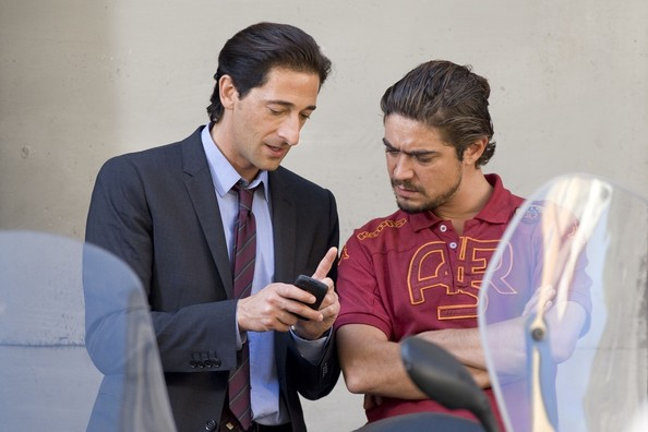 Riccardo Scamarcio with Adrien Brody on the set of 'The Third Person'.