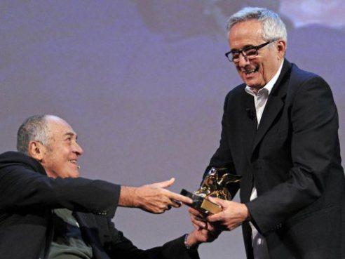 Marco Bellocchio receives Golden Lion for Lifetime achievement from Bernardo Bertolucci