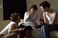 Director Laura Bispuri with Sworn Virgin actresses Flonja Kodheli and Alba Rohrwacher