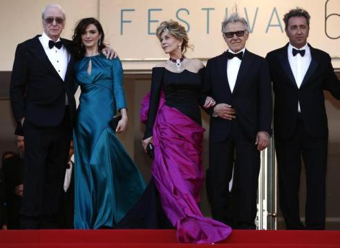 epa04758905 (L-R) British actor Sir Michael Caine, British actress Rachel Weisz, US actress Jane Fonda, US actor Harvey Keitel and Italian director Paolo Sorrentino arrive for the screening of 'Youth' during the 68th annual Cannes Film Festival, in Cannes, France, 20 May 2015. The movie is presented in the Official Competition of the festival which runs from 13 to 24 May. EPA/IAN LANGSDON