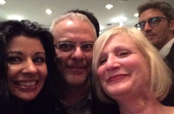 My favorite Open Roads Selfie: My friend Jeannine, Daniele Luchetti, me, and a photobomb by Pif.