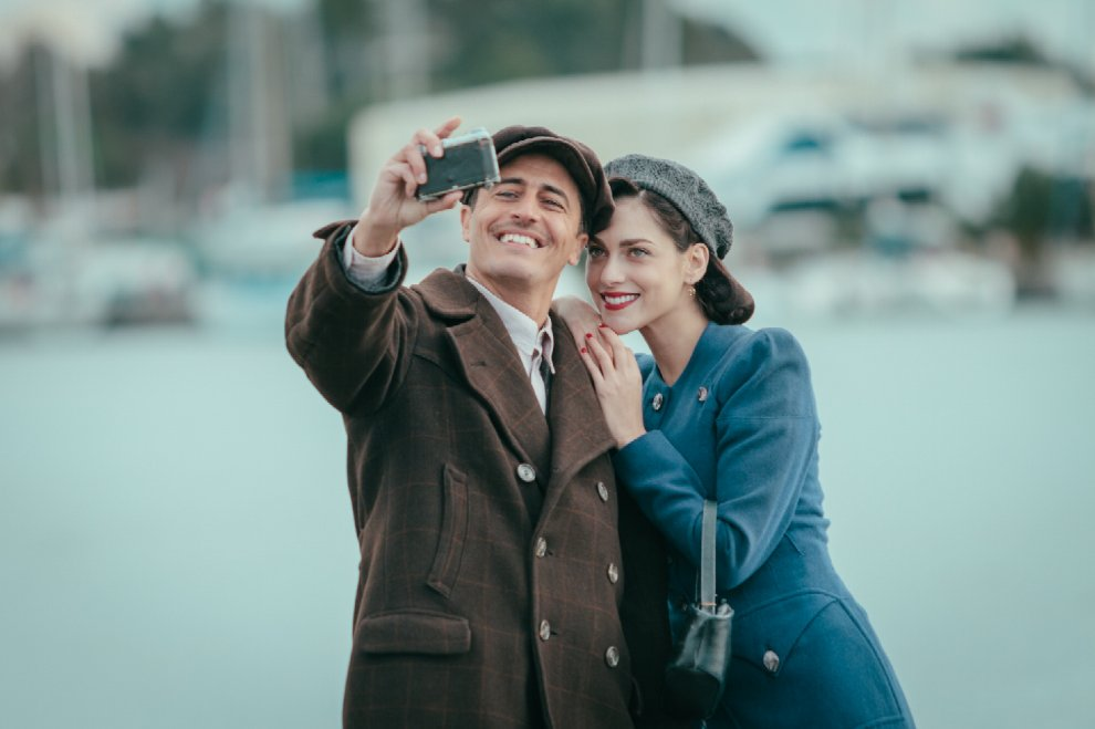 Pif and Miriam Leone taking a WWII selfie.